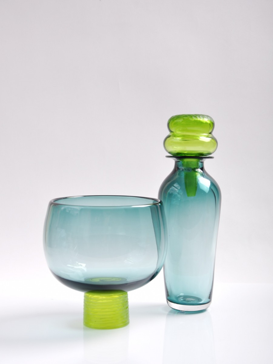 Smokey green glass bottle and bowl