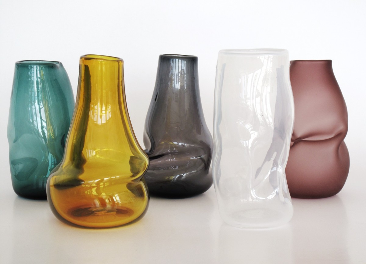Blown glass vases in green, amber, grey, white and aubergine
